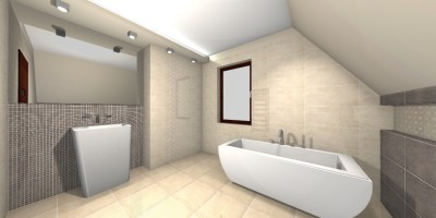 Jasna łazienka beżowo- szara