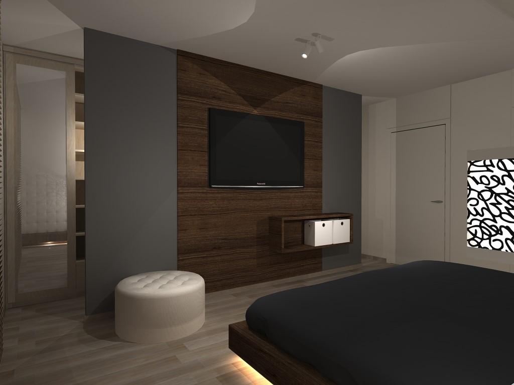 przestronne łóżko w sypialni