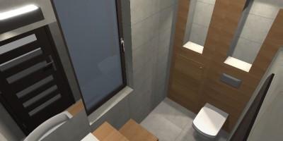 Szara łazienka z deskami