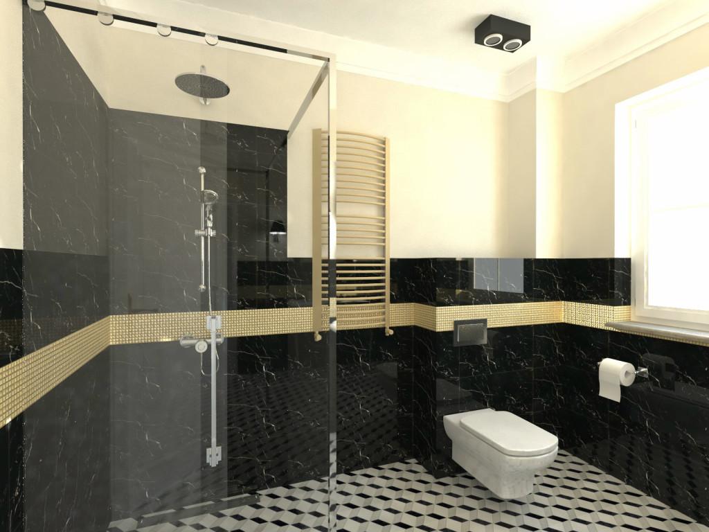 projekt łazienki Doroty Krzyżaniak, płytki Maciej Zień, mozaika i płytki Barcelona