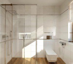 łazienka w bieli i drewnie by Auradesign.pl