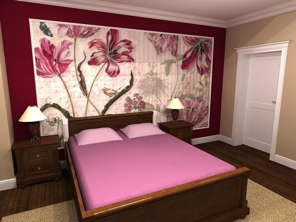 sypialnia w stylu angielskim z fototapetą