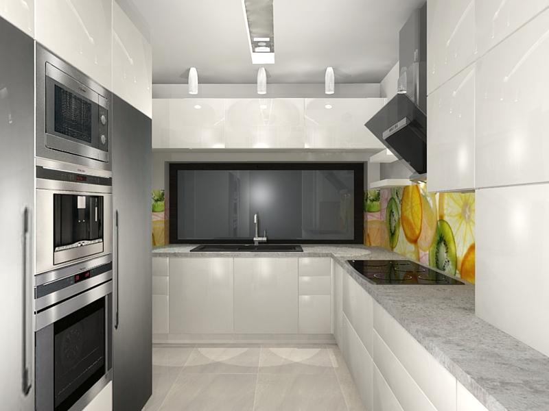kuchnia nowoczesna, biały lakier, w połysku