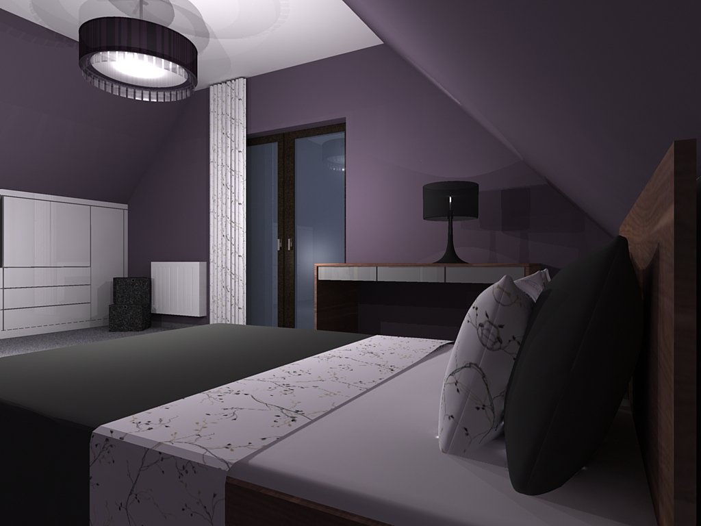sypialnia w kolorze fioletu