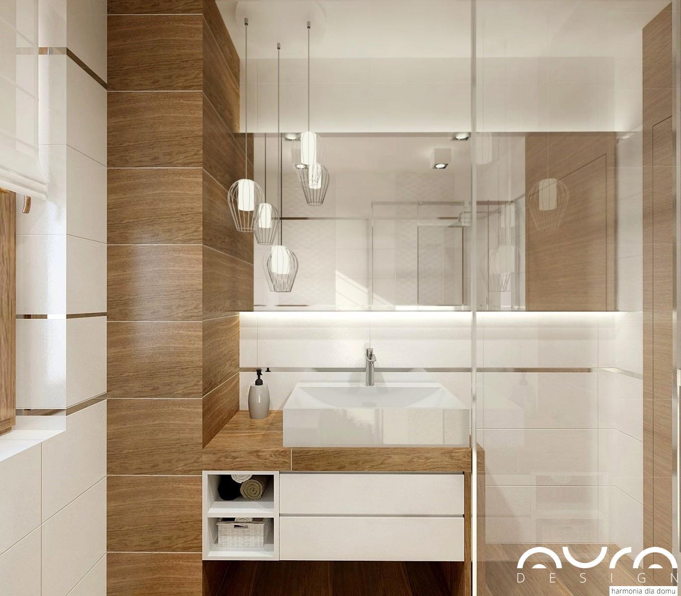 2 łazienka w bieli i drewnie by Auradesign.pl