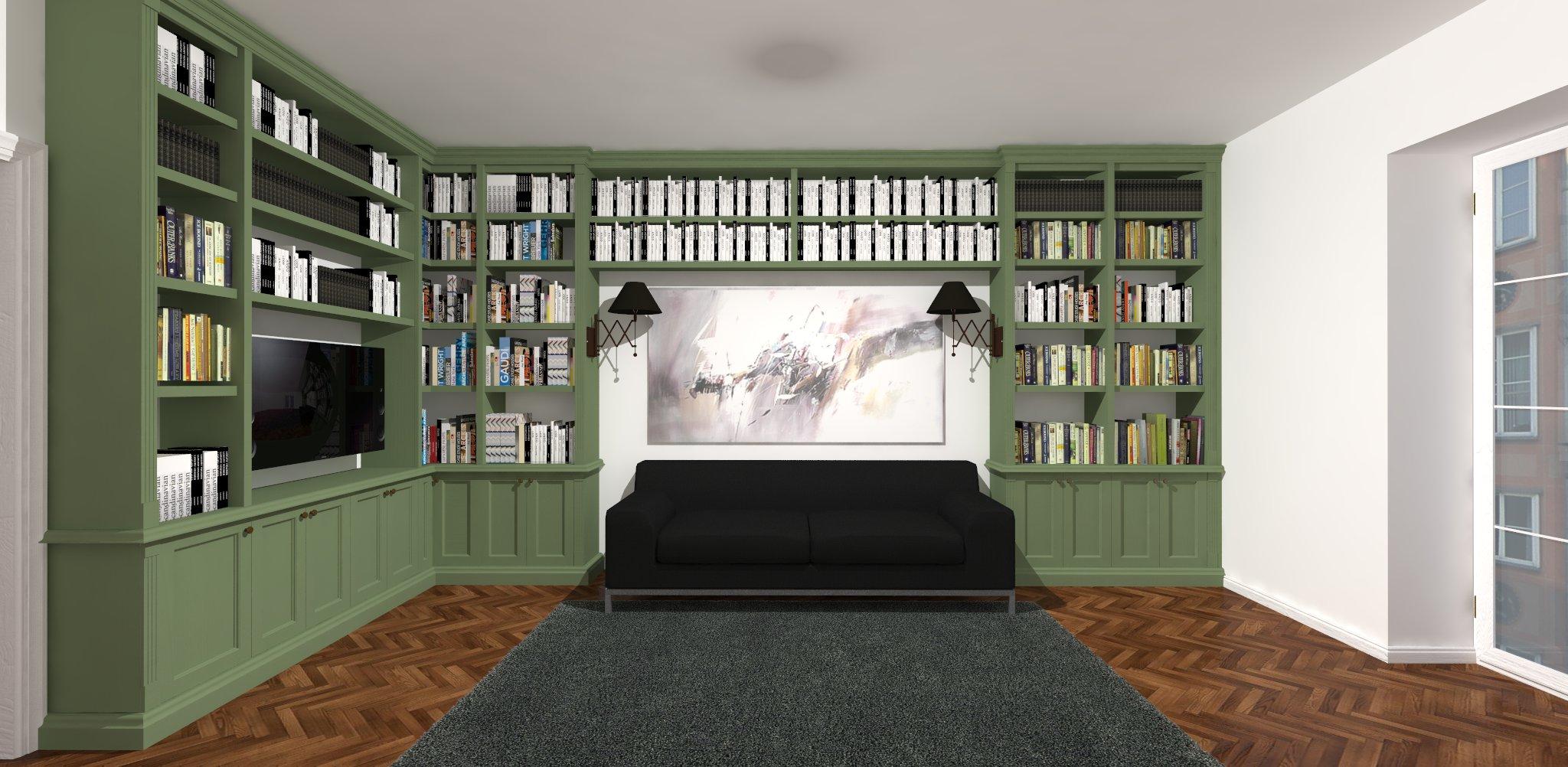 salon z biblioteką w stylu angielskim