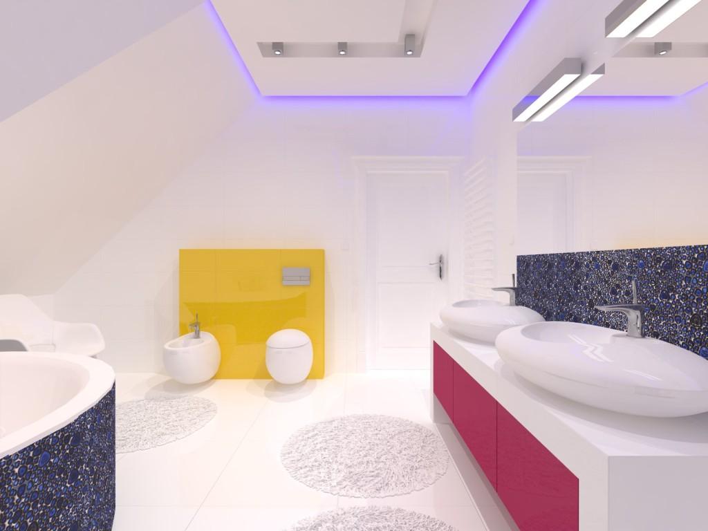 niebieska mozaika w białej łazience