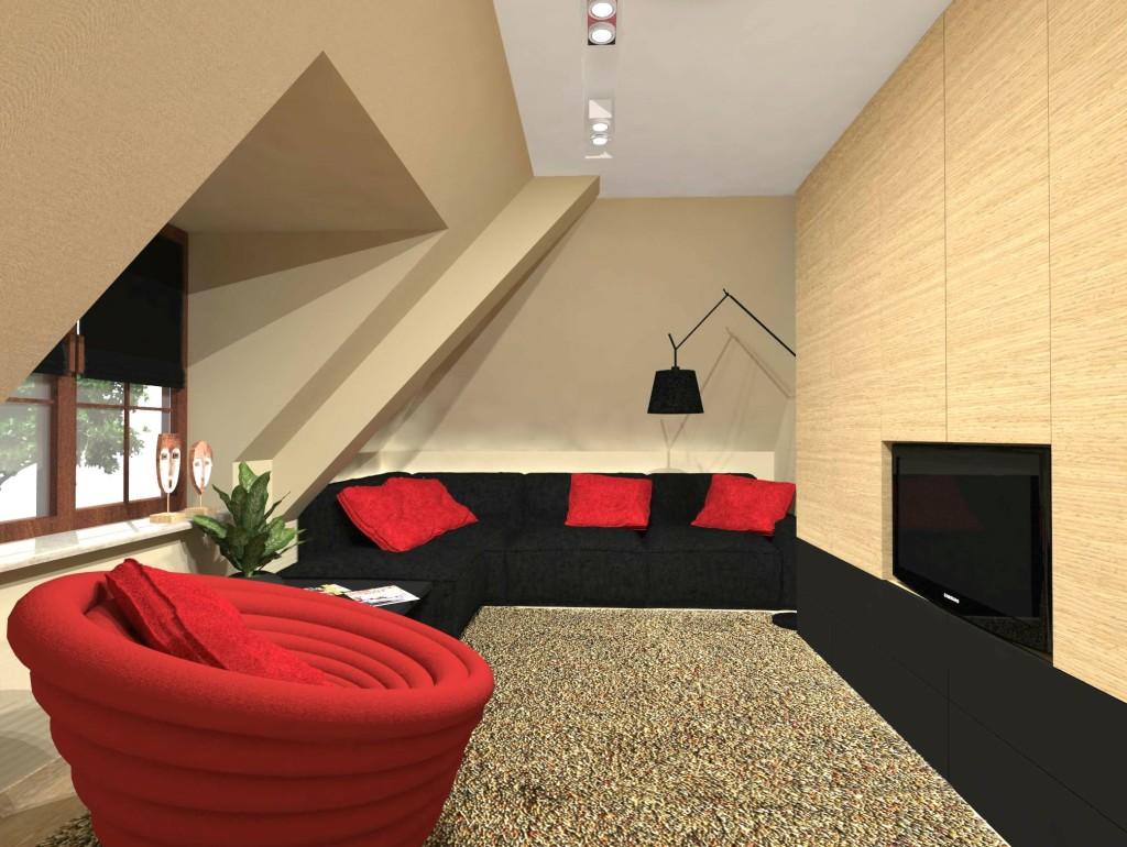 pokój ze skosami, czerwień w pokoju, kolor czerwony