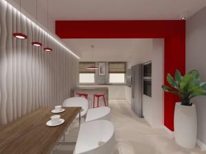 biała kuchnia z czerwonymi dodatkami