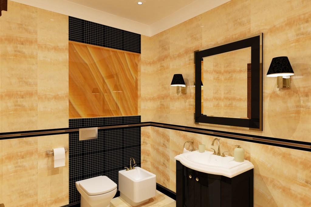 łazienka czarno złota