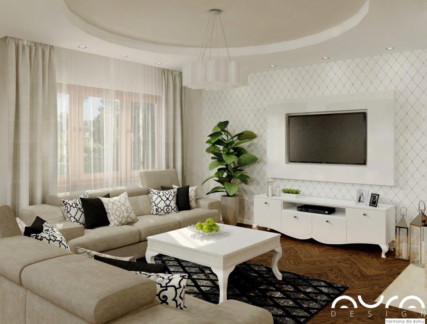 aranżacja salonu w stylu glamour- Auradesign.pl