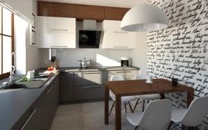 kuchnia biała szaro drewniana