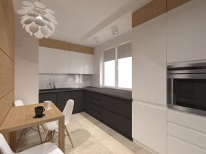 kuchnia biało poielata z dodatkiem drewna
