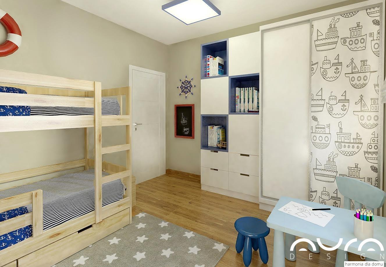 Pokój dla chłopca w nowoczesnym stylu, Szafa we wzór statków. Łóżeczko piętrowe w jasnym drewnie.