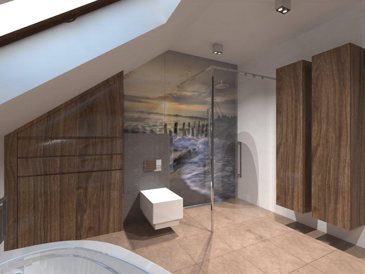 łazienka Na Poddaszu Ze Skosami Auradesing Aranżacja Wnętrz