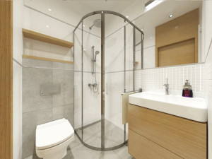 biała łazienka z dodatkiem drewna i szarości