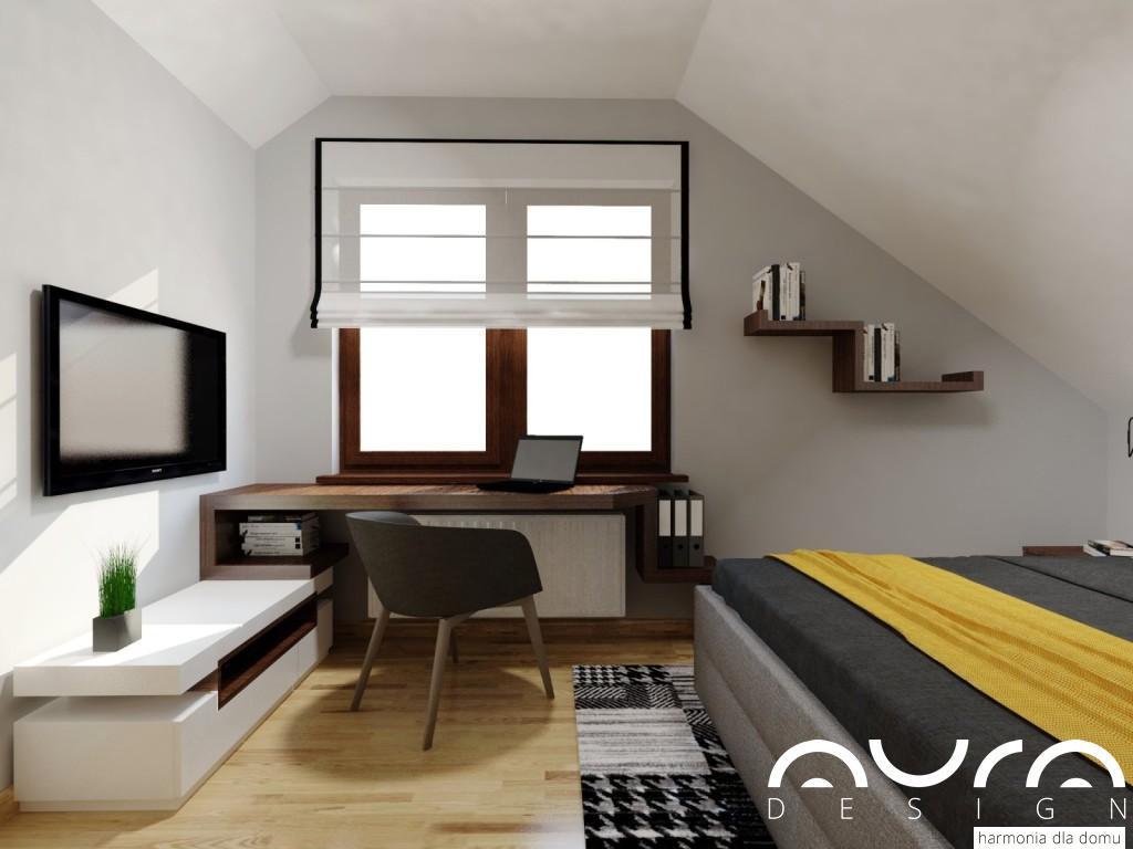 sypialnia nowoczesna na poddaszu
