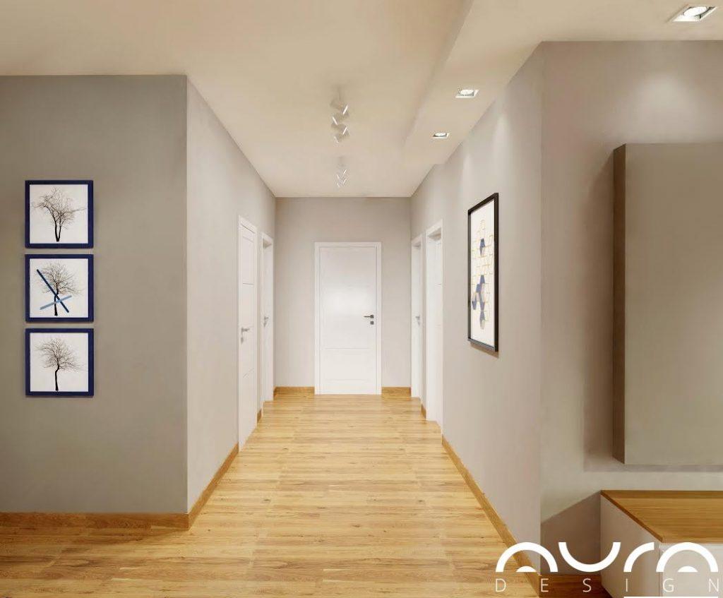 korytarz, aranżacja domu jednorodzinnego w Toruniu, Auradesign.pl