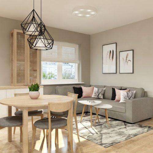 salon z aneksem kuchennym zaprojektowany przez Auradesign.pl