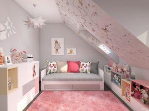 pokój dla dziewczynki na poddaszu