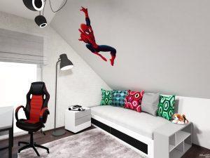 pokój dla chłopca z motywem spidermana