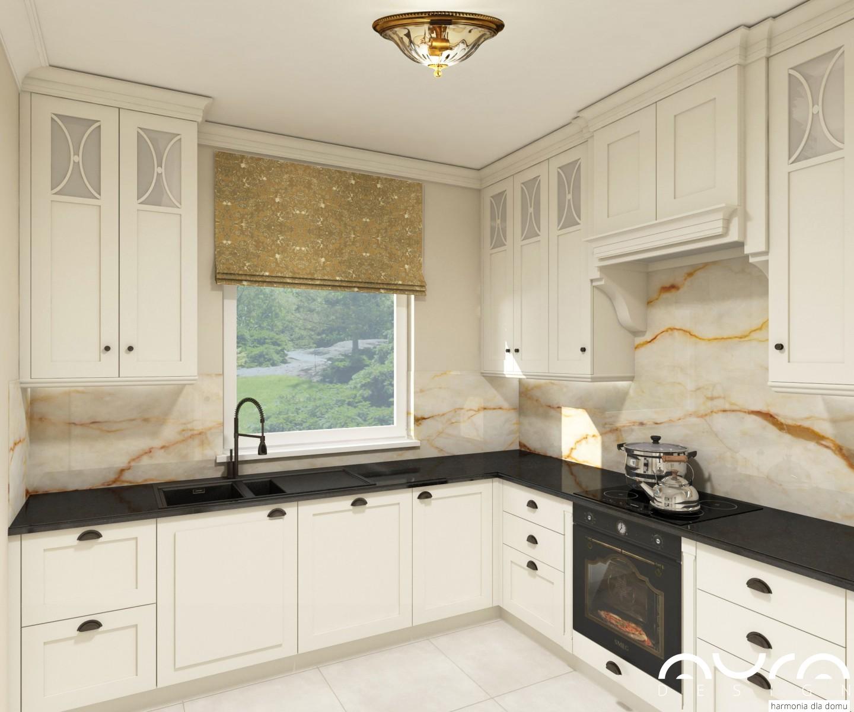 Kuchnia W Stylu Glamour Ze Złotymi Dodatkami By Auradesign