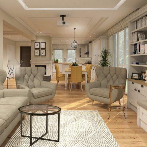 salon z kuchnia i jadalnią w stylu angielskim by Auradesign.pl