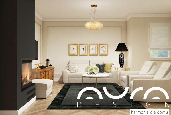 salon w stylu glamour ze złotymi dodatkami by Auradesign.pl