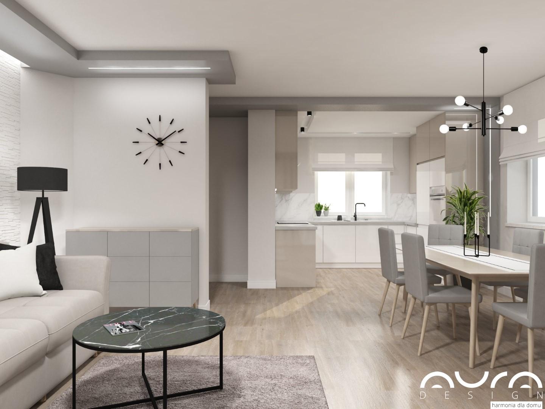 aranżacja salonu z aneksem kuchennym by Auradesign.pl 5